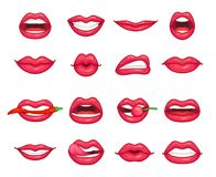 Lips collection. Beautiful girl smiling, kissing, biting pepper, cherry and lip with lipstick. Cartoon beauty kiss. Lips collection. Beautiful girl smiling royalty free illustration
