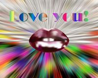 Lips on colorful background. Love image royalty free stock photos
