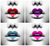 Lips with Colorful Heart Shape paint Stock Photo
