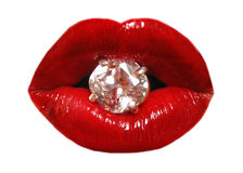 Lips and diamond Stock Images