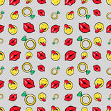 Lips Diamonds and Emoticons Seamless Pattern. Fashion Background in Retro Comic Style Royalty Free Stock Photography