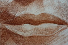 Lips drawing of a woman portrait head pastels. Lips Pastel drawing of a woman portrait hand drawn artistic texture taken from a pastel sketch anatomy pretty royalty free stock photography