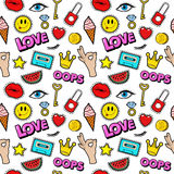 Lips Eyes and Jewelry Seamless Pattern. Fashion Background in Retro Comic Style Royalty Free Stock Images