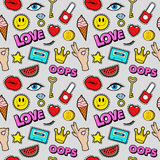 Lips Eyes and Jewelry Seamless Pattern. Fashion Background in Retro Comic Style Royalty Free Stock Photo