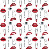 Lips and eyes pattern print. Fabric print with random parts of woman face and body Royalty Free Stock Photos