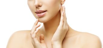 Lips and Face Skin Care, Woman Beauty Makeup and Treatment, Mode. L Touching Lip and Neck by Hand, Isolated on White Background Royalty Free Stock Photo