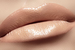 Lips with fashion natural beige lipstick makeup Stock Photo