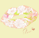 Lips with floral ornament Stock Photos
