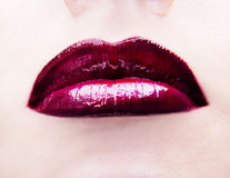 Lips with glossy lipstick Royalty Free Stock Photos