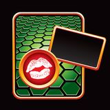 Lips on green hexagon banner template Royalty Free Stock Images