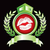 Lips in green royal crest Royalty Free Stock Photos