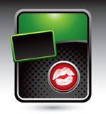Lips on green stylized banner template Royalty Free Stock Photos