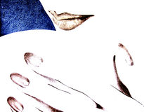 Lips and hand. Poster scan of my drawing - closeup of lady's lips and hand Royalty Free Stock Photo