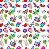 Lips Hands Bubbles and Hearts Seamless Pattern. Fashion Background in Retro Comic Style Stock Photo