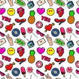 Lips Hands Bubbles and Hearts Seamless Pattern. Fashion Background in Retro Comic Style Royalty Free Stock Photos