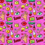 Lips Hands Cosmetics and Emoticons Seamless Pattern. Fashion Background in Retro Comic Style Royalty Free Stock Photo
