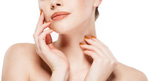Lips hands nails shoulders Beautiful woman face close up studio on white Stock Photo