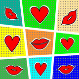 Lips and heart on a bright background. Vector illustration. Stock Image