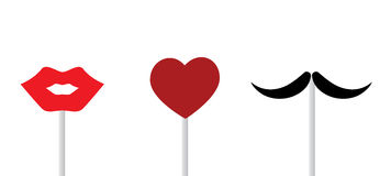 Lips, heart, mustache Royalty Free Stock Images