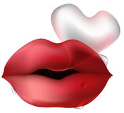 Lips with heart shaped bubble stock photos