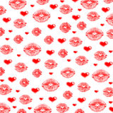 Lips & hearts. Scarlet lips & hearts on a white background stock image