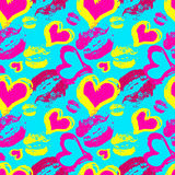 Lips and hearts on a blue background Seamless vector pattern Stock Image