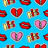 Lips, hearts and kiss patches seamless pattern vector illustration