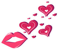 Lips and hearts Royalty Free Stock Photos