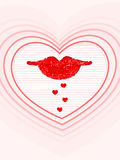 Lips with hearts reflection.  illustration. Royalty Free Stock Image