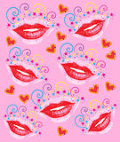 Lips Hearts Stars Swirls Background Royalty Free Stock Image