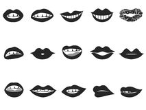 Lips icon. Isolated black lips icon set on white background Stock Photography