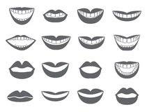 Lips icon. Set of silhouettes lips-vector. Lips with a smile. The mouth with a kiss. Vector illustration isolated on white background vector illustration