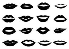 Lips icons set. In black Stock Photography