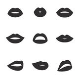 Lips icons. Set of isolated, black icons on a theme lips Stock Photo