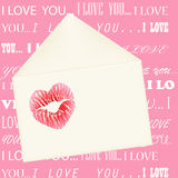 Lips imprint on the envelope on pink background wi Stock Image