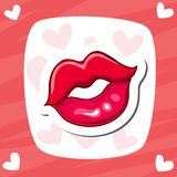 Lips kiss. Vector patch, sticker. Cool sexy red kissed. Selphie cartoon Sign for print, in comics, Fashion. Royalty Free Stock Image
