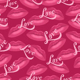 Lips kisses and love lettering seamless pattern. Lips kisses and love lettering seamless vector pattern Stock Photos