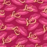 Lips kisses vector seamless vector pattern with golden hand drawn letter Love. Royalty Free Stock Images
