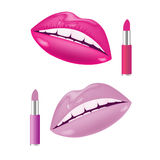 Lips and lipstick Royalty Free Stock Photos