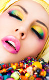 Lips lipstick make-up colourful royalty free stock photography