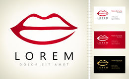Lips logo. Vector with business card template Royalty Free Stock Image