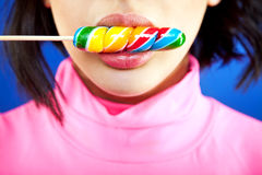 Lips lollipop girl Royalty Free Stock Images