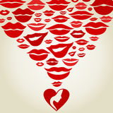 Lips7. Love from heart of kisses. A vector illustration Royalty Free Stock Photo