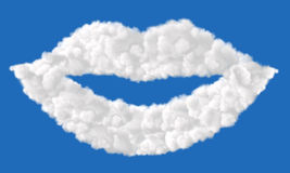Lips made from clouds Stock Image