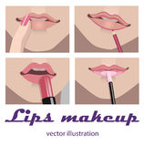 Lips makeup. Glossy Lips makeup. by four step pictures vector illustration