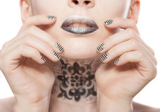 Lips and manicure Royalty Free Stock Images