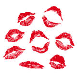 Lips mark. Realistic lip mark in jpg and, carefully transfered. isolated on white background Royalty Free Stock Image