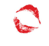 Lips mark. Realistic lip mark in jpg and  form, carefully transfered. isolated on white background Stock Images