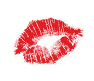 Lips mark. Realistic lip mark in jpg and  form, carefully transfered. isolated on white background Stock Photo