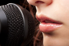 Lips and Microphone Royalty Free Stock Photos